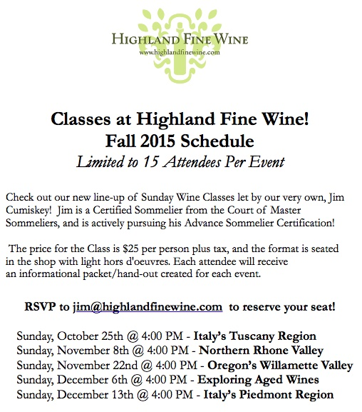 Fall 2015 Highland Wine Class Schedule Picture
