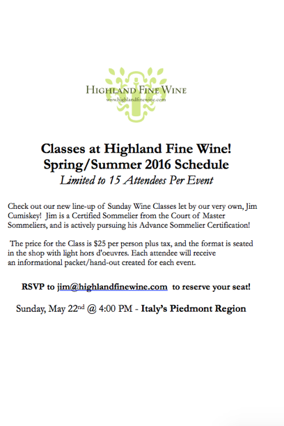 2016 CLASSES AT HIGHLAND WINE