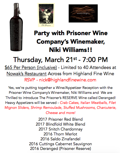 Prisoner 2019 Wine Event Info