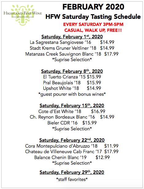 February 2020 Tasting Schedule Satureday